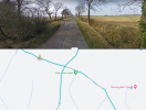 Passing place on left hand side, between wooded area and Evershaw House.light p